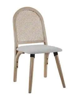 Art leon Rattan linen Fabric Cane Dining Side Chair with Bamboo Frame  Retail 141 99