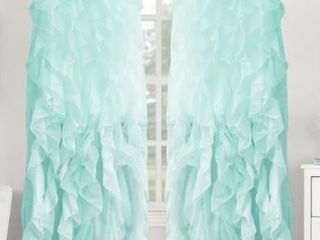 Sweet Home Collection Sheer Voile Waterfall Ruffled Tier 108 Inch Curtain Panel Pair