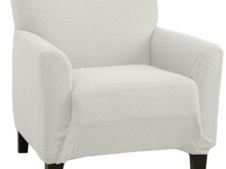 Great Bay Home 1 Piece Knitted Jacquard Stretch Chair Slipcover  Off  White