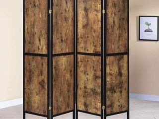 Strick   Bolton Dahlstrom Antique Nutmeg 4 panel Folding Screen Slight Damage See Pictures    69 50  x 0 75  x 70 25  Retail 157 49
