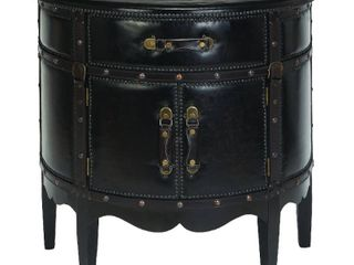 Traditional 31 Inch Semi Circle Wood and leather Cabinet by Studio 350  Retail 279 99