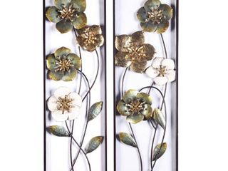 2pc Metal Flowers Wall Decor