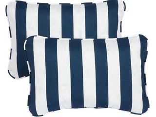Striped Navy Corded 13  x 20  Indoor Outdoor Throw Pillows  Set of 2