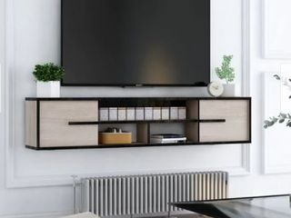 Furniture of America Benedikto Mid Century Floating Wall Mounted Media Console  Reclaimed Oak  Retail 189 99