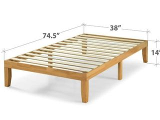 Priage by Zinus 14 Inch Deluxe Solid Wood Platform Bed  Twin  Retail 175 49