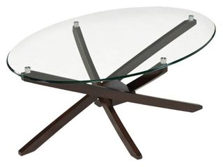 Xenia Contemporary Espresso Oval Coffee Table  legs Only  Retail 274 49