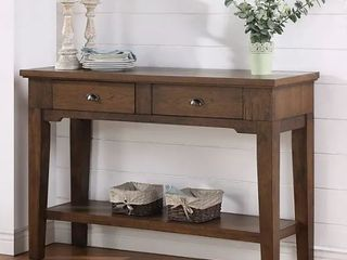 Copper Grove Ohey Warm Walnut 2 drawer Serving Table   Slight Damage On Right Corner  Retail 332 99
