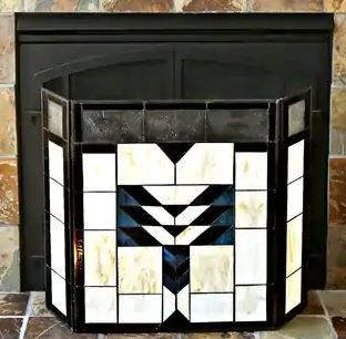 Mission Style Stained Glass Fireplace Screen  31 5 l x 6 75 W x 26 H