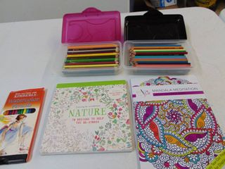 Adult coloring Books and Pencils