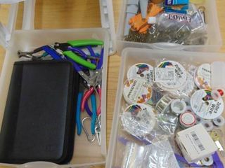 Container Filled with Beading Craft Supplies   Parts