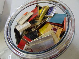Glass Container Full of Vintage Matchbooks