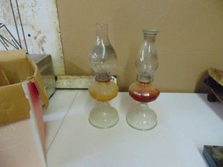 Pair of Oil lamps   With Globes