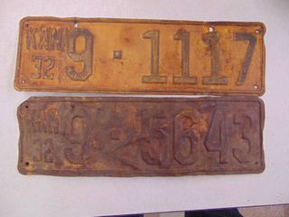 2   1932 license Tags