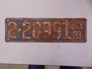 1933 license Tag