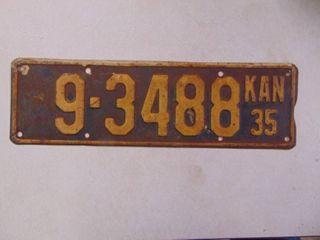 1935 license Tag