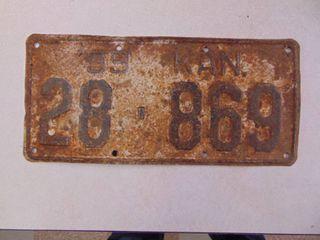 1939 license Tag