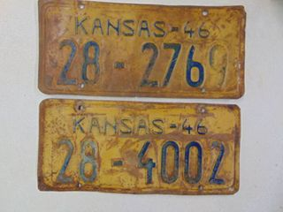 2   1946 license Tags