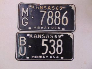 2   1969 license Tags
