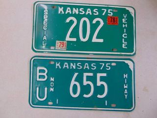 2   1975 license Tags