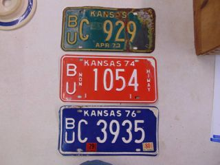 1973  74 and 76 license Tags