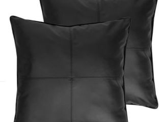 Carson Faux leather Decorative Throw Pillow Pair 18 x18 black