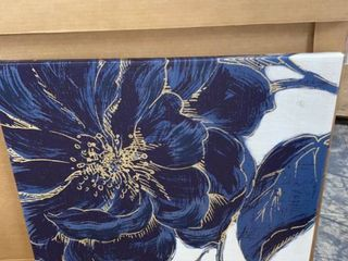 Designart  Dark Rose Gilded Gold  Floral Canvas Artwork   Blue Retail 85 49