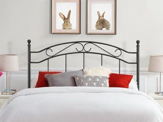 Mainstays Full queen Metal Headboard With Delicate Detailing  Black