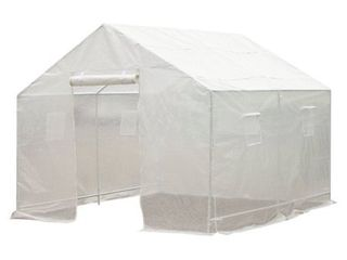 Outsunny 10  x 9 5  x 8  Outdoor Ventilated Portable Walk In Greenhouse with White PE Cover Retail 127 99