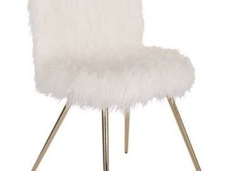 Silver Orchid Conklin White Fur and Gold Accent Chair  Retail 147 49