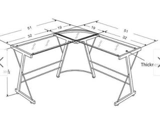 Avenue Greene Thomas Glass l shaped Computer Desk Retail 139 99