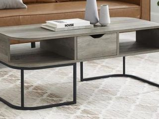 1 Drawer Curved Coffee Table   Grey Wash