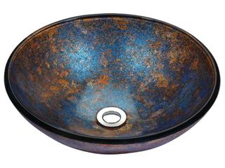Stellar Series Sapphire Burst Deco Glass Vessel Sink  Retail 154 99