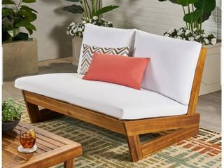 Sherwood Outdoor Acacia Wood loveseat with Cushions by Christopher Knight Home  Retail 256 49