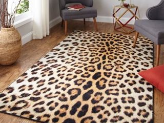 Mohawk Home Prismatic Cheetah Spots Neutral Transitional Animal Print Kids Precision Printed Area Rug  5 x8  Tan   Brown