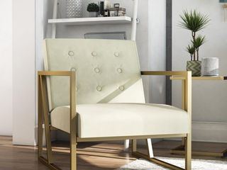 lexington Modern Chair Gold Frame   Ivory Velvet Upholstery   Cosmoliving By Cosmopolitan