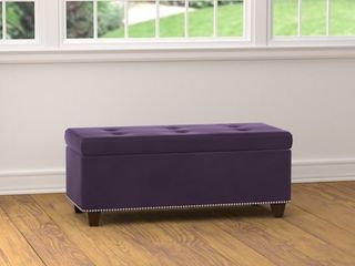 The Curated Nomad Orchid Purple Velvet Storage Ottoman  Retail 159 99