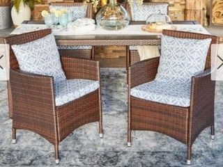 Handy living Aldrich Indoor Outdoor Brown Resin Rattan Dining Chair Set with Blue Geometric Cushions  Retail 263 99