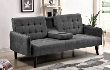 Hash Grey Tufted Upholstered Futon Sleeper  Retail 379 49