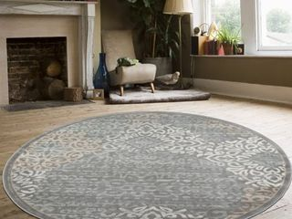 Radici USA 3471 Pristine Contemporary Gray Geometric Area Rug  7 10  Round