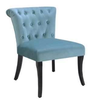 Rolled Tufted Velvet Accent Chair in Sky Blue  Retail 112 49