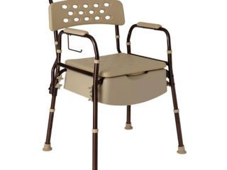 Medline Elements Bedside Commode  Microban Antimicrobial Protection  400lb Weight Capacity  Dark Bronze Frame