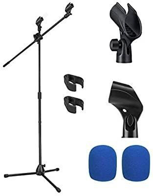 Moukey Microphone Mic Stand  Tripod Boom Microphone Stand with 2 Non Slip Mic Clip Holders and 2 Foam Cover