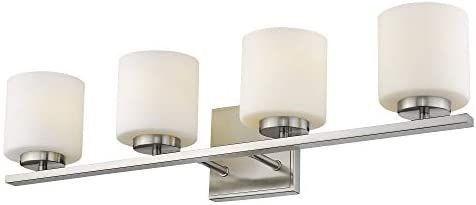 Emliviar 4 light Bathroom Vanity light Fixture  Brushed Nickel