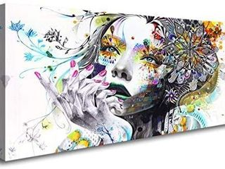 A74150 Canvas Wall Art Beautiful Flower Girl Painting Posters Print Pictures Stretched Canvas Painting