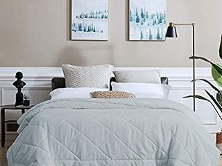 SunStyle Home Bed Quilt Queen lightweight Bedspreads  Thin Comforter for All Season  Soft Cozy Quilted Blanket Diamond Pattern Bedding  90 x90  light Grey   Upgraded Stitching