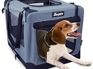 JESPET Soft Pet Crates Kennel 26  30    36  3 Door Soft Sided Folding Travel Pet Carrier with Straps and Fleece Mat for Dogs  Cats  Rabbits  Indoor Outdoor Use with Grey  Blue   Beige  Black
