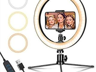 lED Ring light 10  with Tripod Stand   Phone Holder for live Streaming   YouTube Video  Dimmable Desk Makeup Ring light for Photography  Shooting with 3 light Modes   10 Brightness level