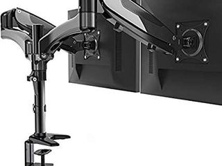 HUANUO Dual Monitor Stand   Height Adjustable Gas Spring Monitor Desk Mount Fits 2 Flat Curved Computer Screens 15 to 27 Inch  Double Articulating Arms VESA Bracket with C Clamp  Grommet Mounting