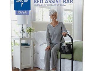Medline Bed Assist Bar With Storage Bag  Height Adjustable Bed Grab Bar  Black Frame