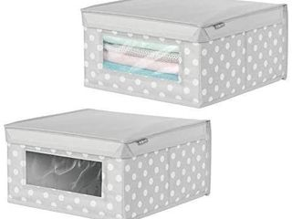 mDesign Soft Stackable Fabric Closet Storage Organizer Holder Box